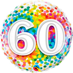 Rainbow Confetti 60th Birthday 18 inch foil balloon