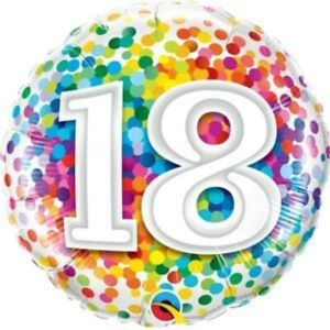 Rainbow Confetti 18th Birthday 18 inch foil balloon