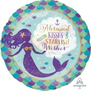 Mermaid Wishes & Kisses 18 Inch Foil Balloon
