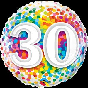 Rainbow Confetti 30th Birthday 18 inch foil balloon