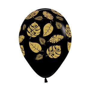 Jungle Leaves on Black Latex Balloons (5)