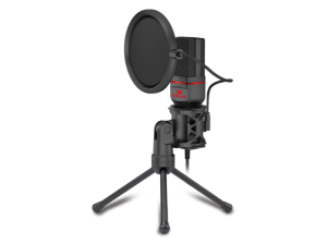 Redragon Seyfert Omnidirectional Condenser 1.8m 3.5mm Aux Cable Black & Red Tripod Microphone