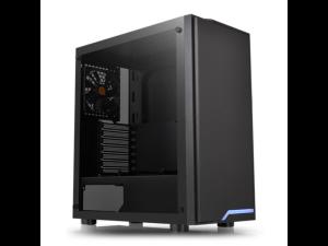 Thermaltake H100 Tempered Glass Blue LED Black Mid Tower Desktop PC Case