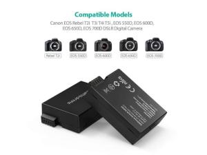 RAVPOWER 2x 2000mAh Replacement Batteries for Canon LP-E8 with Charger Set Black