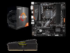 House of the Ryzen Sun AMD 5600X CPU, Corsair 16GB DDR4-3200 RAM and Gigabyte A520M Aorus Elite Motherboard Upgrade Kit