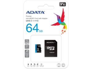 ADATA Premier 64GB MicroSDHC/SDXC UHS-I Class 10 V10 A1 Memory Card with Adapter