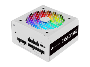 Corsair CX Series CX550F RGB White 550W 80 Plus Bronze Certified Fully Modular RGB White PSU
