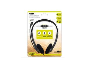 Port Stereo Headset with Mic 1.2m Cable and Volume Controller - Black
