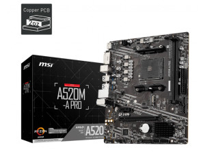 MSI A520M-A PRO AMD AM4 Socket Micro-ATX Desktop Motherboard