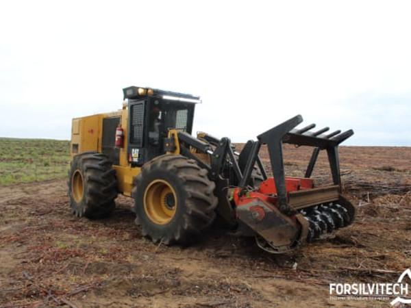 Mulching eucalyptus clearfell residues using a wheeled mulcher