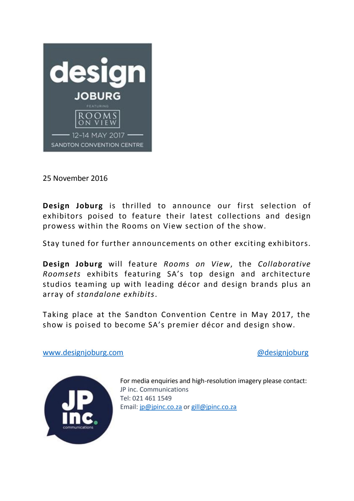 Design Joburg Featuring Rooms on View - Update 25 November 2016