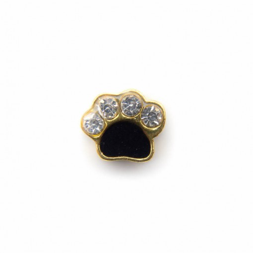 Black and Gold Diamante Paw