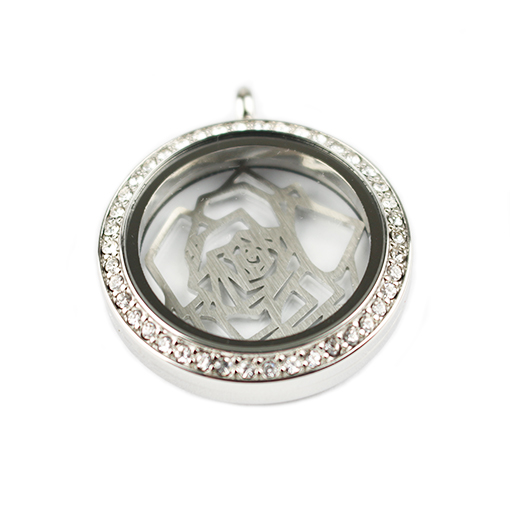 Moonlight Crystal with Filigree Rose Locket Set