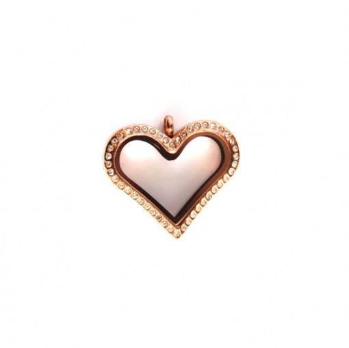 Rose Gold Crystal Heart Locket