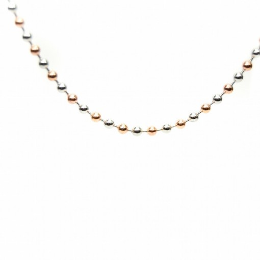 Long Rose Gold & Silver Ball Chain