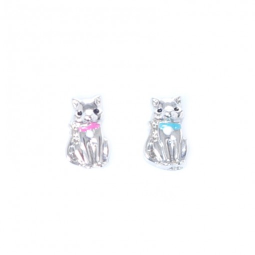 Silver Cat with Blue/Pink Bow