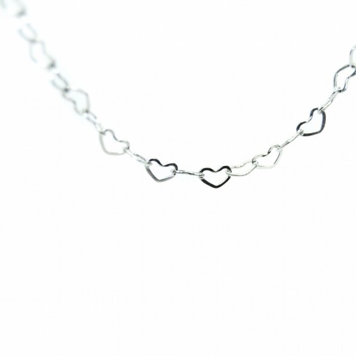 Silver Open Heart Chain - 74cm (Oval Lockets)