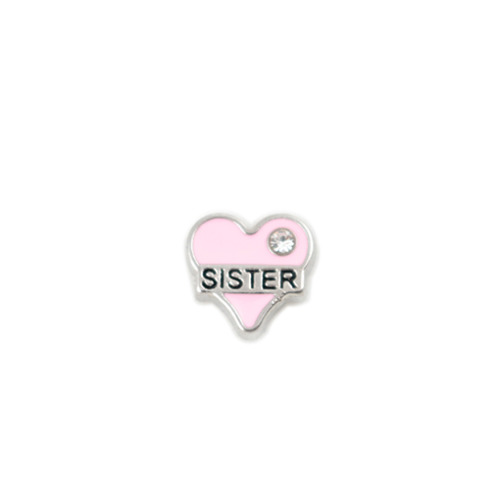Sister Heart - Pink With Crystal Detail