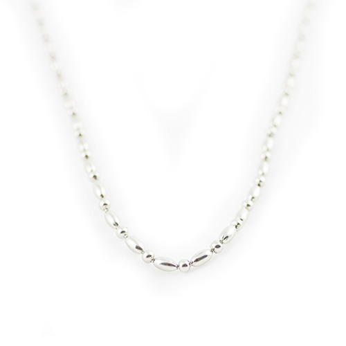 Oval Rice Chain - 49cm (Silver)