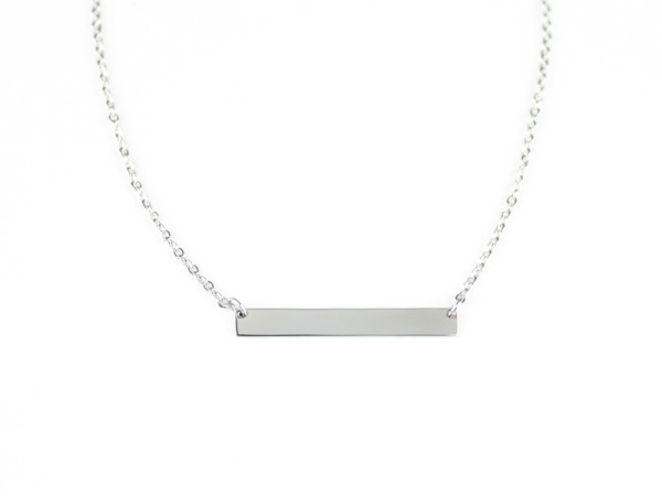 "Horizontal ""Reminders"" Bar Necklace - Silver"