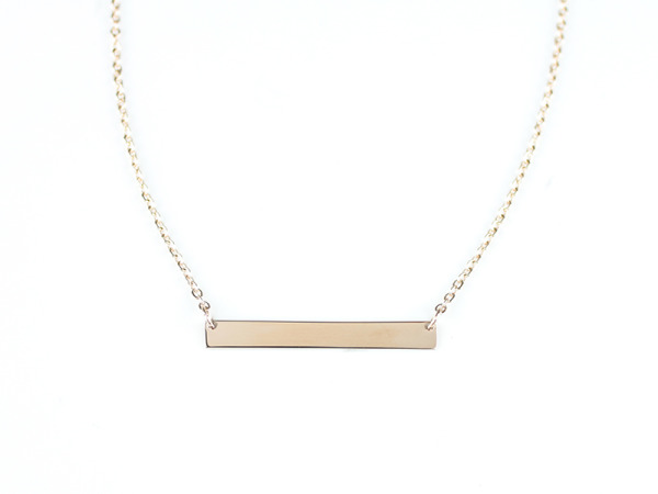 "Tora Grace ""Reminders"" - Horizontal Bar Necklace Rose Gold"