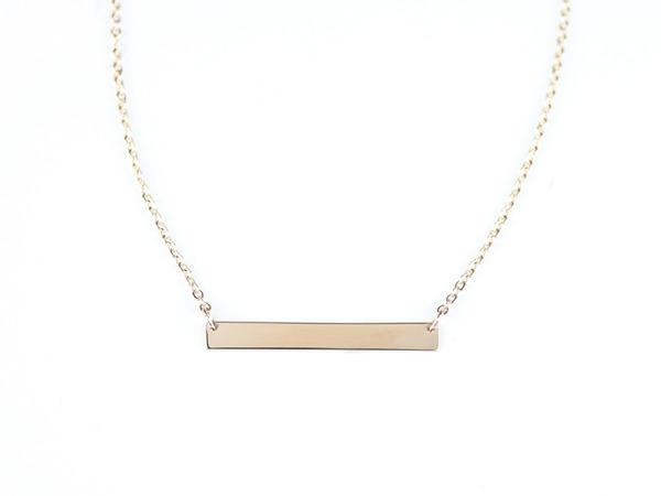 "Tora Grace ""Reminders"" - Horizontal Bar Necklace Rose Gold"