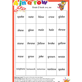 Grade 2 book: o-e, ow - Four In A Row