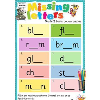 Grade 2 book: oo, ew and ue - Missing Letters