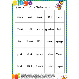 Grade2 book: a and ar - Bingo