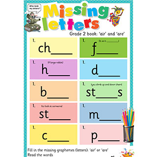 Grade 2 book: 'air' and 'are' - Missing Letters