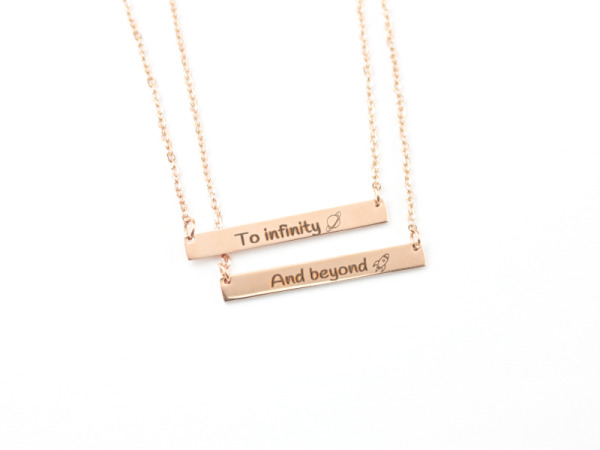 """To Infinity And Beyond"" - Horizontal Bar Rose Gold Necklaces"