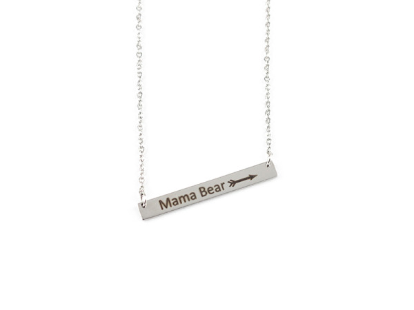 """Mama Bear"" Horizontal Bar Silver Necklace"