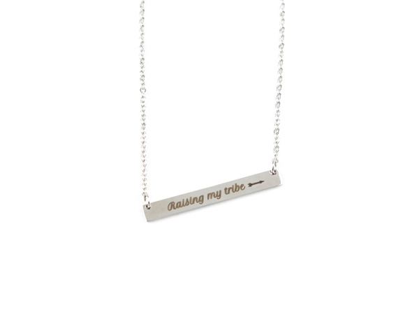 """Raising My Tribe"" Horizontal Bar Silver Necklace"