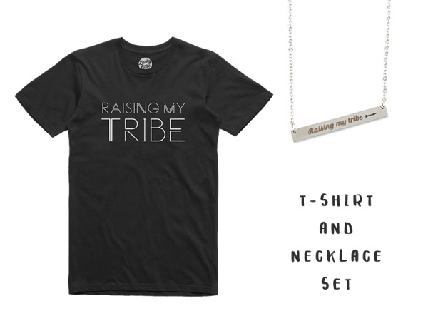 """Raising My Tribe"" T-Shirt and Necklace Combo"