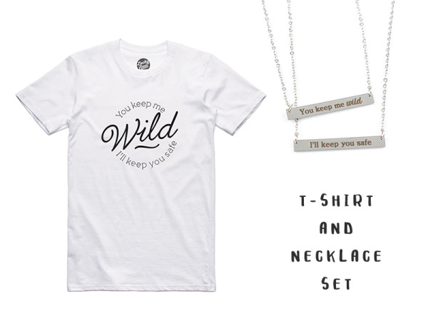 """Wild And Safe"" T-Shirt And 2 Necklace Combo"