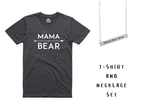 """Mama Bear"" T-Shirt And Necklace Combo"
