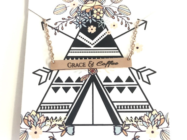 """Grace&Coffee"" Horizontal Bar Necklace Rose Gold"