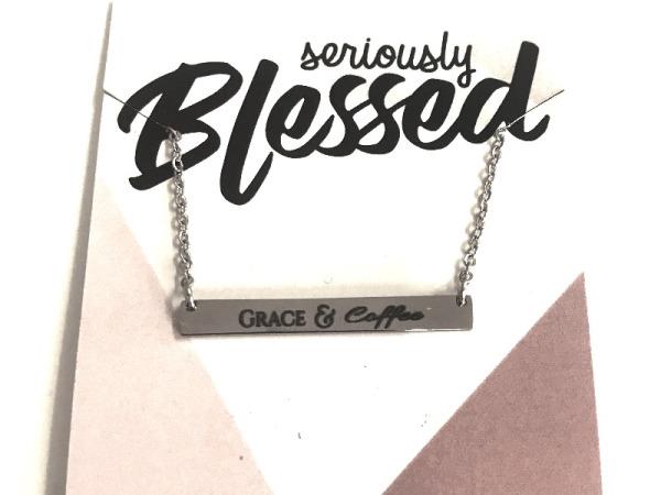 """Grace&Coffee"" Horizontal Bar Silver Necklace"