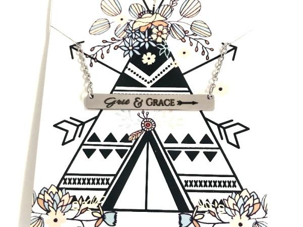 """Grit&Grace"" Horizontal Bar Silver Necklace"
