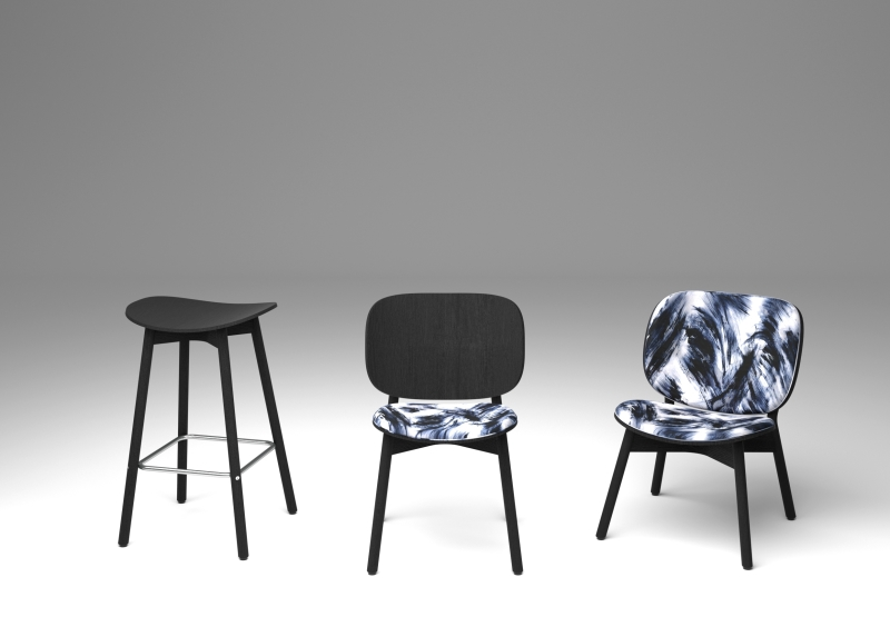 Sim-ply chairs: dining chair, barstool and lounge chair