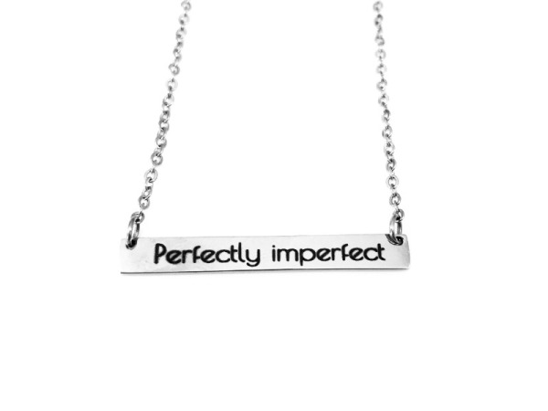 """Perfectly imperfect"" Horizontal Bar Silver Necklace"