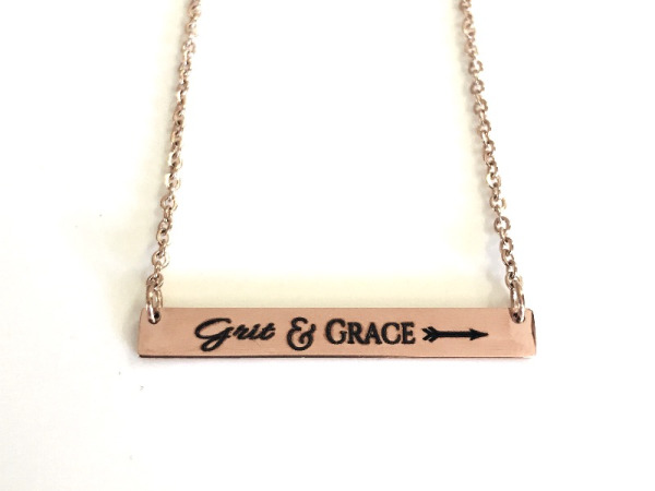 """Grit&Grace"" Horizontal Bar Rose Gold Necklace"