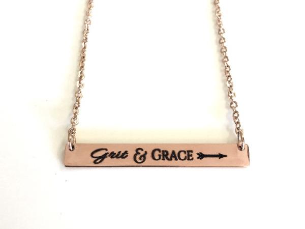 """Grit&Grace"" Horizontal Bar Rose Gold Necklace"