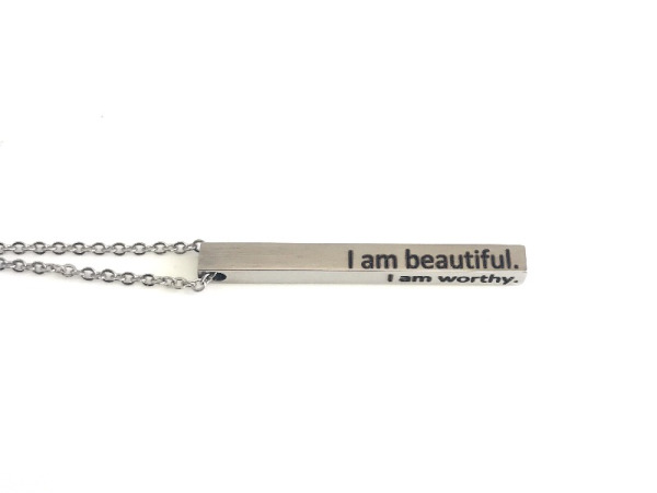 "Tora Grace Reminders - Vertical Chunky Bar Silver ""I am beautiful"""
