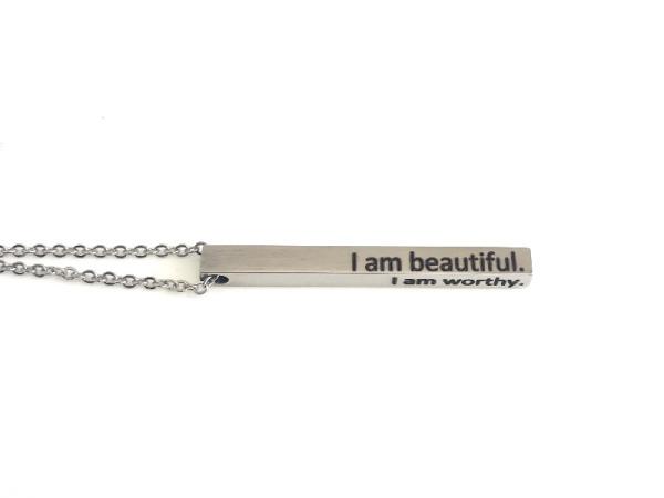 "Tora Grace Reminders - Vertical Chunky Bar Silver ""I am beautiful"""