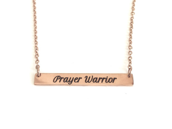 """Prayer Warrior"" Horizontal Bar Necklace Rose Gold"