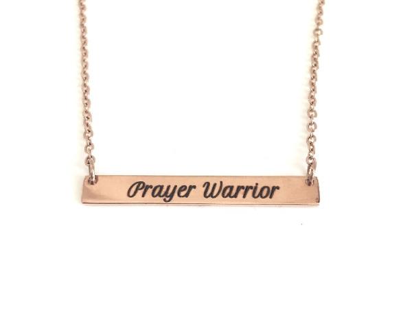 """Prayer Warrior"" Horizontal Bar Necklace Rose Gold"