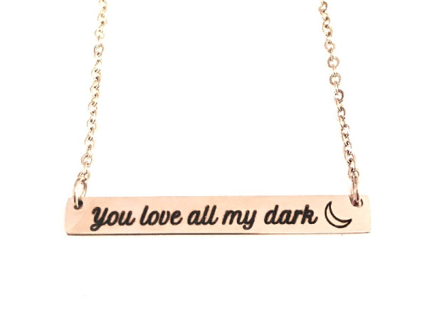 """You see all my light, You love all my dark"" Horizontal Silver and Rose Gold Bar Necklace Set"