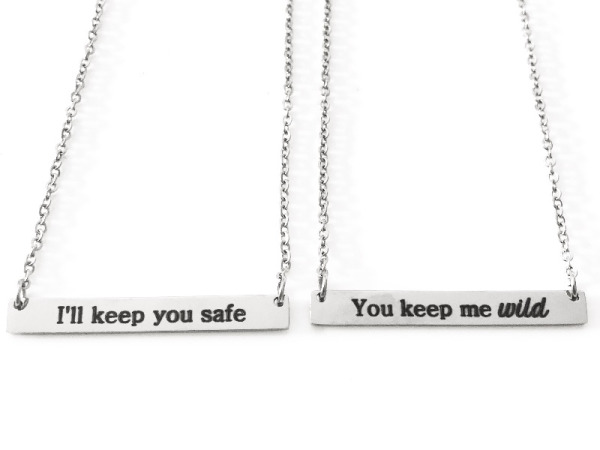 """Wild And Safe"" Horizontal Bar Silver Necklaces"