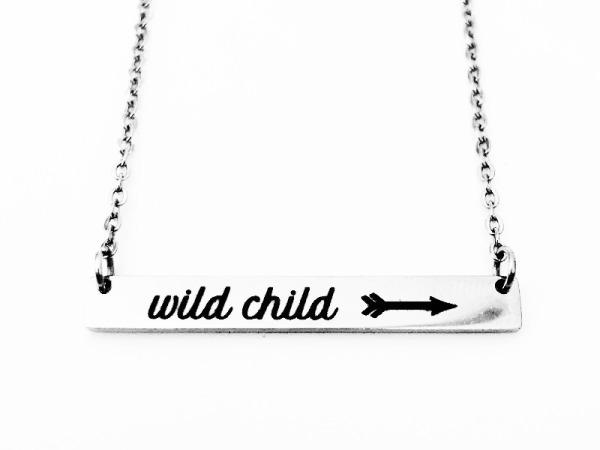 """Wild Child"" Horizontal Bar Silver Necklace"